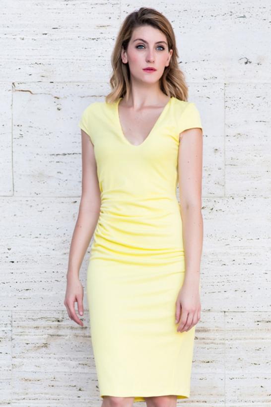 Vestido frunces amarillo